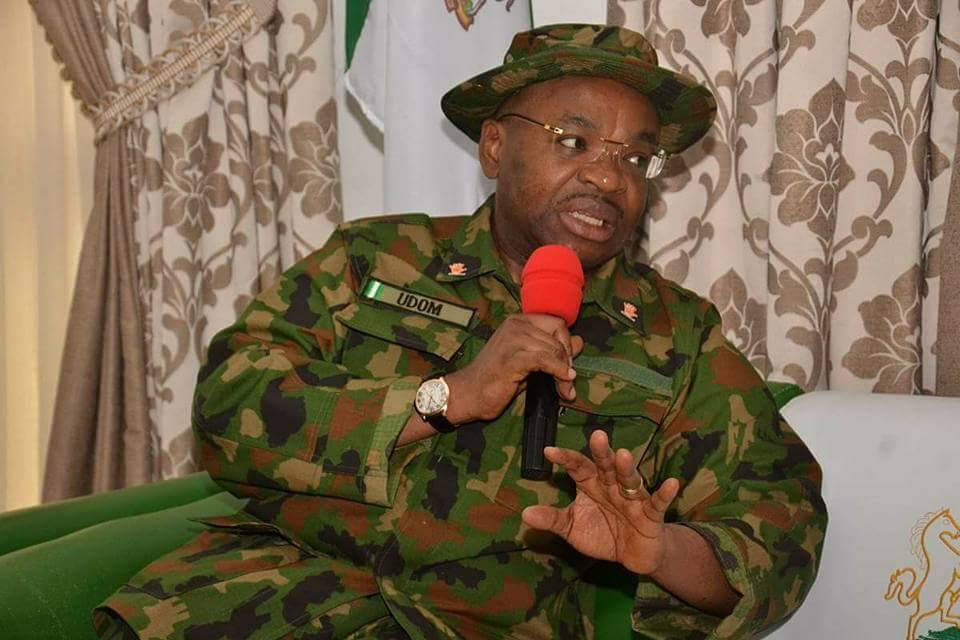 Governor Udom with Army