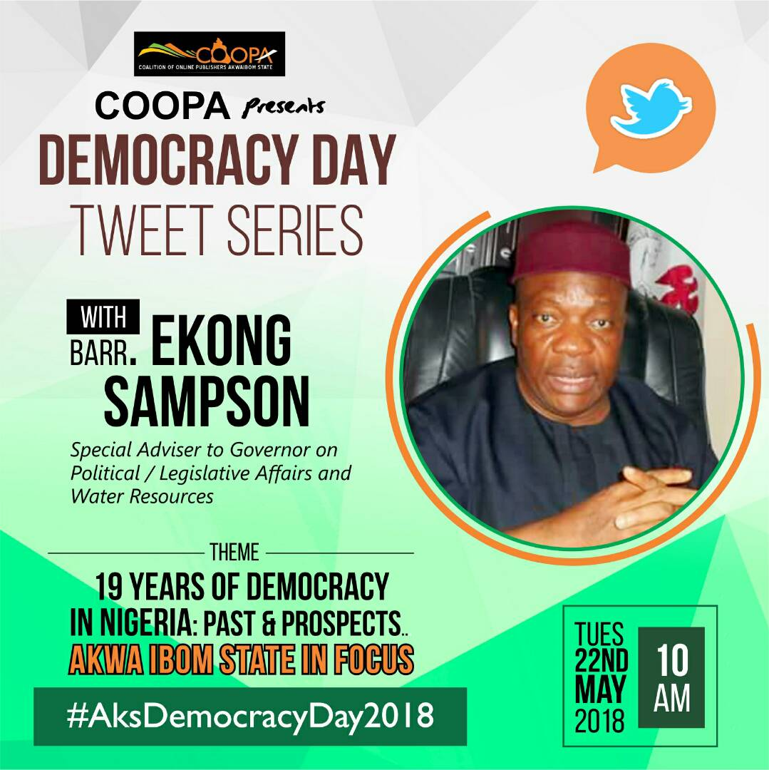 Photo of Former lawmaker and Gov Emmanuel's adviser on Legislative/Political Affairs to open discourse on 19 years of Nigeria's Democracy