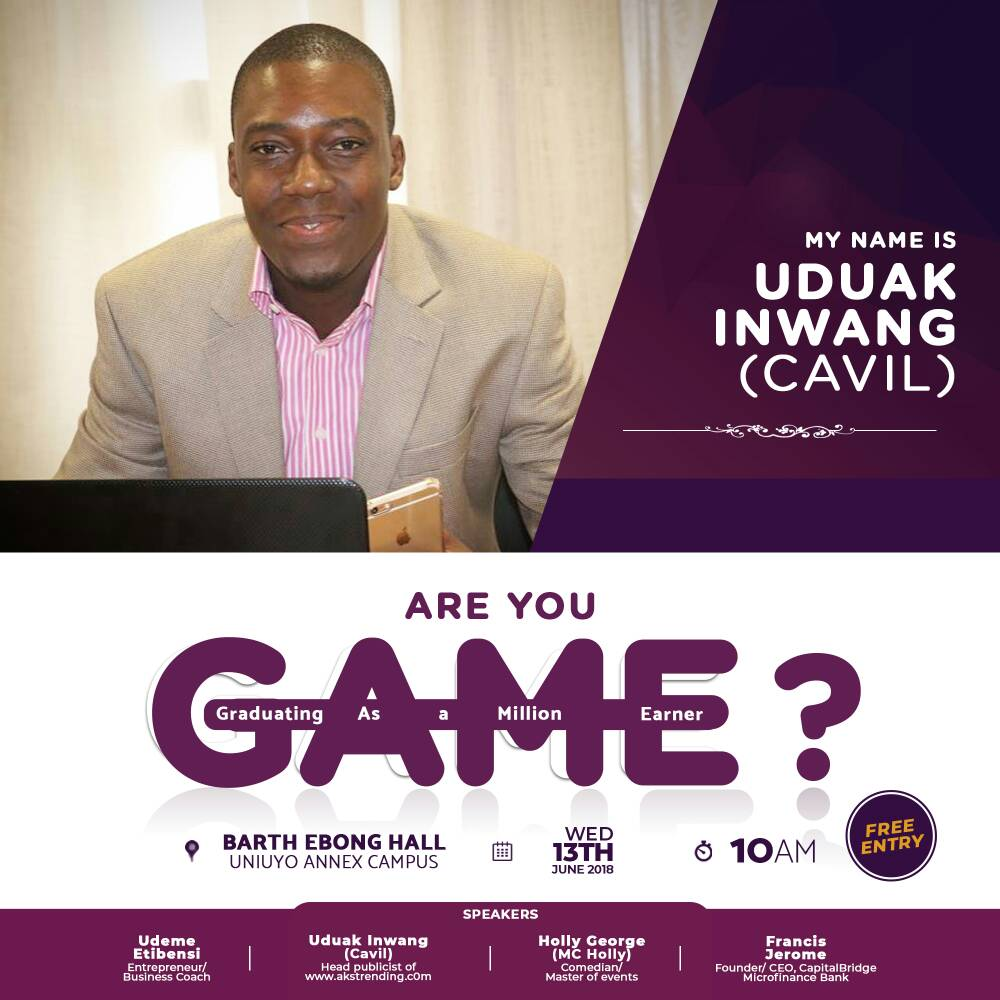 Uduak Inwang (Cavil) to spesak at The GAME Entrepreneurial Conference.