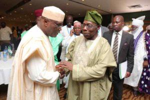 PHOTO NEWS: Chief Olusegun Obasanjo MEETS With Atiku Abubakar, Exchanges Pleasantries.