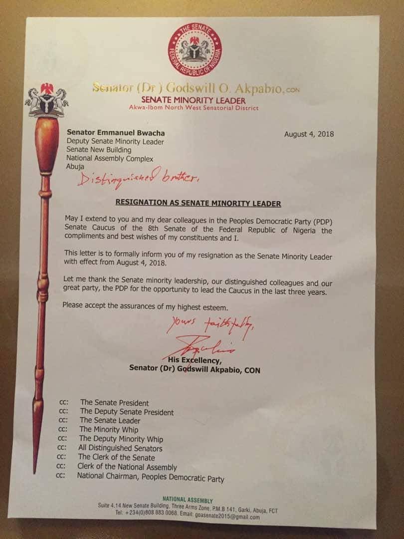 Sen Akpabio Resigns As Majority Leader...White Papper