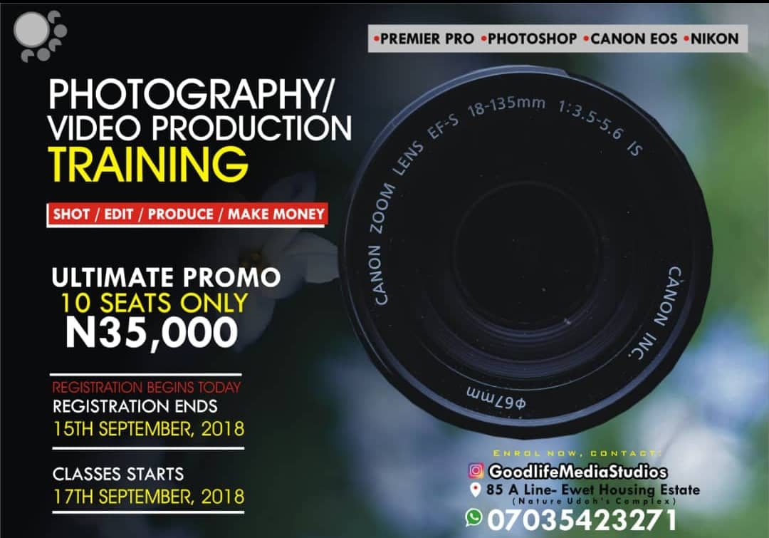 enrol today in this photo/video production training to equip yourself for the future!
