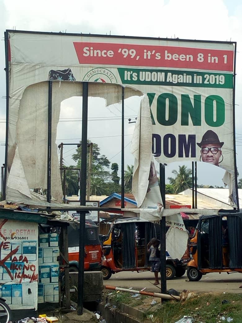Photo of War Saw: Another PDP Billboard Torn Down In Akwa Ibom
