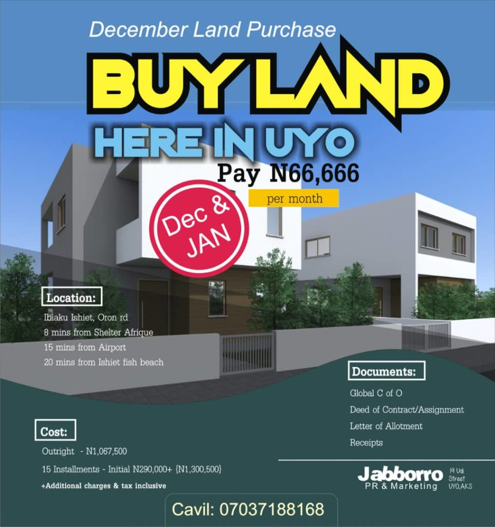 Every Akwa Ibom son traveling home for Christmas should buy a piece of land in an organized estate this December. This particular one goes for 1.06M to pay outright. But you can also pay in instalment for up to 15months - initial deposit at 290k. All additional charges and taxes covered. Location - 20mins to Gas deposit recently discovered, 8mins from Shelter Afrique. Are you interested, call or SMS me and I'll direct you right. No community palaver, no Govt setback, no incursions. #InvestInAkwaIbom