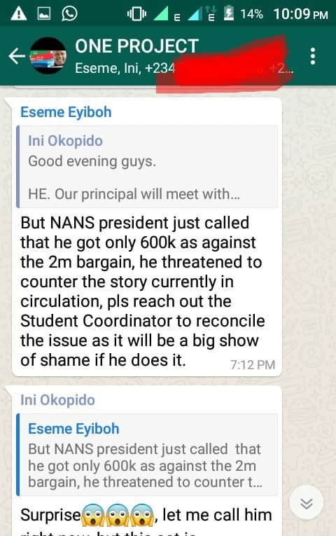 Photo of One Project APC WhatsApp Group Exposed…. Screenshot Shows Fake NANS Press Release