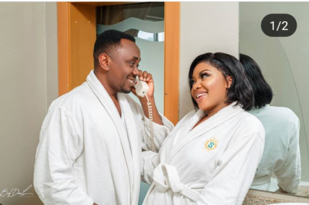 Photo of Lady Covers Her Nose, Watch Her Man Poo Inside Toilet In Pre-wedding Photos
