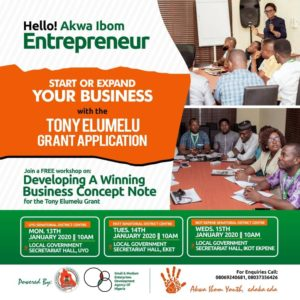 FREE TRAINING ON DEVELOPING A WINNING BUSINESS CONCEPT NOTE FOR THE TONY ELUMELU GRANT