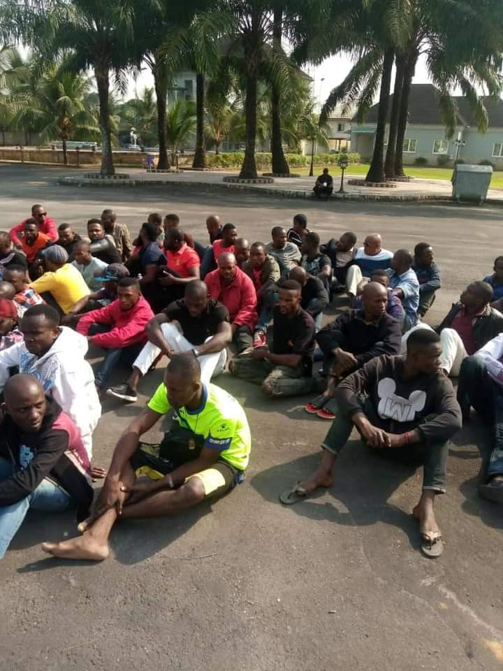 Photo of 79 THUGS ARRESTED AT AKPABIO'S  HOME WITH 25 KIDNAPPED NYSC ELECTION OFFICIALS DURING RERUN – POLICE