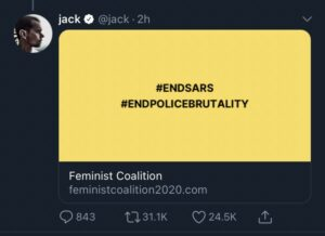 Twitter CEO Jack Dorsey Supports Nigeria's #EndSARS Protest, Donates Bitcoin